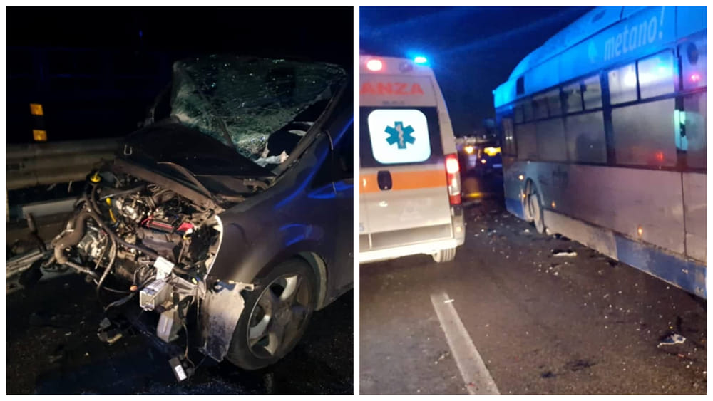 Incidente sull'Asse Mediano: bus CTP contro un auto