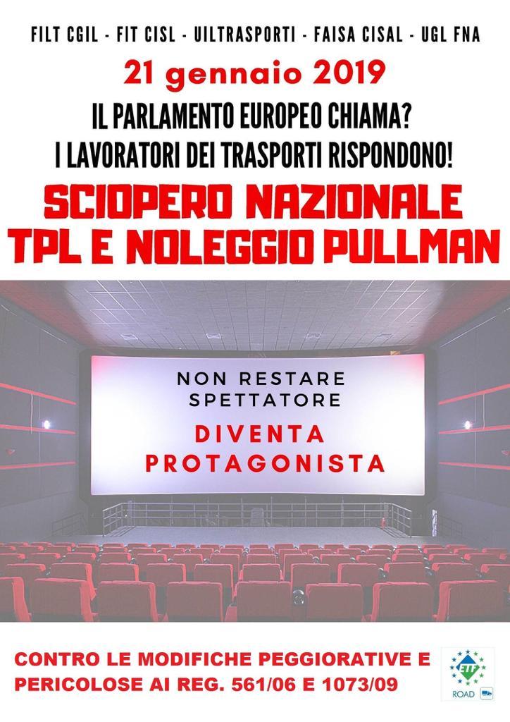 SCIOPERO NAZIONALE TPL E NOLEGGIO PULLMAN 21 GENNAIO 2019